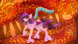 Size: 3200x1800 | Tagged: safe, artist:jamlotte1, oc, oc:cosmic star, alicorn, pony, alicorn oc, autumn, clothes, ethereal mane, female, forest, horn, leaves, mare, raised hoof, scarf, smiling, solo, tree, wind, wings