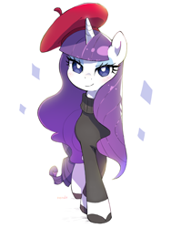 Size: 2400x3200 | Tagged: safe, artist:nendo, rarity, pony, unicorn, sweet and elite, alternate hairstyle, beatnik rarity, beret, clothes, cute, female, hat, high res, looking at you, mare, raribetes, simple background, solo, sweater, white background
