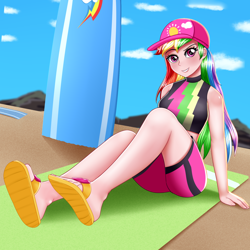 Size: 2000x2000 | Tagged: safe, artist:focusb, rainbow dash, equestria girls, baseball cap, beach towel, cap, clothes, female, hat, human coloration, looking at you, sandals, sexy, smiling, solo, stupid sexy rainbow dash, surfboard, swimsuit, towel