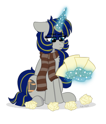 Size: 2871x3350   Tagged: safe, artist:pink-pone, oc, pony, clothes, female, magic, mare, paper, scarf, simple background, solo, transparent background
