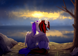 Size: 2644x1900 | Tagged: safe, artist:xanter, oc, oc:blackjack, oc:morning glory (project horizons), pegasus, pony, unicorn, fallout equestria, fallout equestria: project horizons, cloud, cloudy, dead tree, duo, fanfic, fanfic art, female, gloryjack, grass, high res, hoofington, horn, hug, lesbian, mare, ocean, rock, scenery, smiling, spread wings, sunset, tree, wasteland, wings