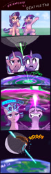 Size: 1147x3885 | Tagged: safe, artist:xbi, starlight glimmer, twilight sparkle, alicorn, pony, unicorn, :<, angery, angry, barrier, beam struggle, big no, blast, charging, cheek squish, comic, crossover, cute, death star, facial expressions, faic, female, fight, floppy ears, force field, frown, glare, glimmerbetes, glowing horn, gritted teeth, horn, laser beam, laser beams, lidded eyes, looking up, madorable, magic, magic beam, magic blast, mare, noooooooo, open mouth, overpowered, planet, sitting, smiling, space, spread wings, squishy cheeks, star wars, sweat, thinking, twiabetes, twilight sparkle (alicorn), unamused, wat, waving, wings