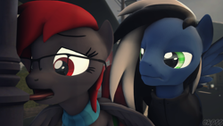 Size: 1080x608 | Tagged: safe, artist:cross76, oc, oc:buffonsmash, oc:dicemare, pegasus, pony, 3d, black and white mane, blue oc, clothes, cold, eye lashes, funny, glasses, grey oc, ice, jacket, pegasus oc, photo, red eyes, red mane, scarf, silly, snow, source filmmaker, spread wings, tongue out, tongue stuck to pole, wings, wings down, winter