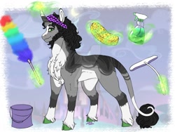 Size: 1024x768 | Tagged: safe, artist:malinraf1615, king sombra, pony, unicorn, alternate hairstyle, bucket, chest fluff, deviantart watermark, duster, ear fluff, glowing horn, headband, horn, housewife, leg fluff, leonine tail, levitation, magic, male, markings, obtrusive watermark, redesign, reformed, reformed sombra, solo, spary, sponge, spray bottle, stallion, telekinesis, unshorn fetlocks, watermark, wiper