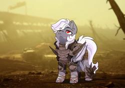 Size: 3508x2480   Tagged: safe, artist:arctic-fox, oc, oc:winter fields, bat pony, pony, vampire, vampony, fallout equestria, armor, bat pony oc, bat wings, looking up, male, raider, scar, solo, stallion, wings
