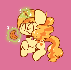 Size: 678x666 | Tagged: source needed, useless source url, safe, artist:typhwosion, sweet biscuit, cookie, cute, eating, food, simple background, sitting