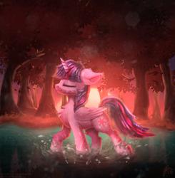 Size: 2140x2180 | Tagged: safe, artist:muggod, twilight sparkle, alicorn, pony, eyes closed, female, forest, grass, mare, multicolored hair, outdoors, raised hoof, reflection, solo, splashing, sun, sunrise, sunset, twilight sparkle (alicorn), water, wet, wings