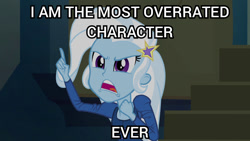 Size: 800x450 | Tagged: safe, edit, edited screencap, screencap, trixie, equestria girls, rainbow rocks, background pony strikes again, caption, image macro, meme, op is a duck, op is trying to start shit, solo, text, trixie yells at everything