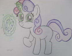 Size: 4697x3681 | Tagged: safe, artist:star lily, sweetie belle, diaper, looking at you, magic, offering, traditional art