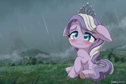 Size: 2400x1600 | Tagged: safe, artist:symbianl, diamond tiara, earth pony, pony, crying, female, filly, jewelry, rain, sad, solo, tiara, wavy mouth