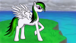 Size: 2560x1440 | Tagged: safe, oc, pegasus, pony, cloud, cloudy, female, grass, mare, missing cutie mark, side view, solo, thinking, water, white, wings