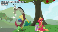 Size: 891x500 | Tagged: safe, big macintosh, discord, spike, pony, the big mac question, humble pie, male, song reference, tree