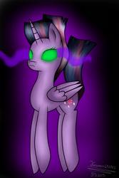 Size: 1000x1500 | Tagged: safe, artist:terezas474747, twilight sparkle, alicorn, pony, black background, colored sclera, corrupted, corrupted twilight sparkle, dark magic, dark twilight, dark twilight sparkle, female, gradient background, green sclera, magic, possessed, possession, purple background, simple background, solo, sombra eyes, twilight sparkle (alicorn)