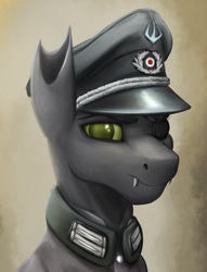 Size: 1760x2300 | Tagged: safe, artist:richmay, oc, changeling, equestria at war mod, bust, cap, changeling oc, clothes, eyepatch, green changeling, hat, military, military uniform, portrait, solo, uniform