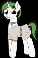 Size: 1018x1538 | Tagged: safe, artist:czaroslaw, oc, oc:czarie, pony, unicorn, clothes, collar, femboy, male, simple background, solo, stallion, standing, transparent background, tunic
