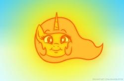 Size: 635x416 | Tagged: safe, artist:banebuster, princess celestia, alicorn, pony, series:tiny tia, smiling, sun