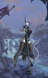 Size: 3209x5184 | Tagged: safe, artist:sa-loony, oc, oc only, oc:diamond mind, unicorn, anthro, unguligrade anthro, background, clothes, dress, female, garter belt, greatsword, holding, horn, leonine tail, loincloth, looking at you, river, scenery, skull, socks, solo, solo female, standing, sword, thigh highs, tree, unicorn oc, waterfall, weapon
