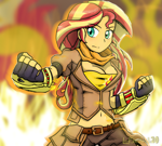 Size: 2284x2048 | Tagged: safe, artist:lordshrekzilla20, sunset shimmer, equestria girls, anime style, belt, breasts, cleavage, clothes, cosplay, costume, cutie mark, cutie mark on clothes, ember celica, gauntlet, gloves, jacket, midriff, rwby, scarf, solo, yang xiao long