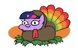 Size: 618x402 | Tagged: safe, artist:jargon scott, twilight sparkle, pony, unicorn, animal costume, bird costume, clothes, costume, cute, female, filly, holiday, ponyloaf, simple background, solo, squatpony, thanksgiving, turkey costume, twiabetes, twiggie, unicorn twilight, white background
