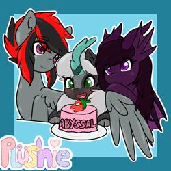 Size: 2000x2000 | Tagged: safe, artist:pastel-pony-princess, oc, oc only, oc:abyssal hart, oc:akasa, oc:serendypity, kirin, original species, pegasus, pony, birthday, cake, food, hug, kirin oc, trio, winghug
