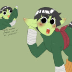 Size: 1000x1000 | Tagged: safe, artist:mclovin, earth pony, pony, angry, bandage, blushing, clothes, ear blush, eyebrows, jumpsuit, leg warmers, male, naruto, open mouth, ponified, raised leg, rock lee, sash, stallion, sweat, sweatdrops, tongue out
