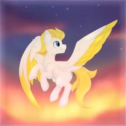 Size: 1024x1024 | Tagged: safe, artist:nekoremilia1, oc, pegasus, pony, blue eyes, sky, solo, sunset