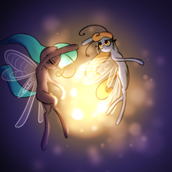 Size: 1000x1000 | Tagged: safe, artist:plaguemare, breezie, antennae, colored sketch, dancing, doodle, drawthread, glow, request, requested art, wings