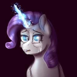 Size: 768x768 | Tagged: safe, artist:delfinaluther, rarity, pony, unicorn, dark, magic, sad