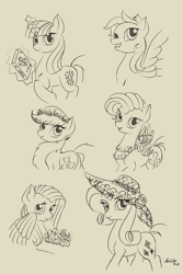 Size: 572x855   Tagged: safe, artist:nevillerob, applejack, fluttershy, pinkie pie, rainbow dash, rarity, twilight sparkle, earth pony, pegasus, pony, unicorn, alternate hairstyle, book, female, floral head wreath, flower, hat, magic, mane six, mare, monochrome, sketch, telekinesis, unicorn twilight