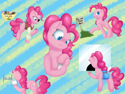 Size: 2048x1536 | Tagged: safe, artist:globug100art, pinkie pie, pony, bag, candy, cinema, clothes, costume, eyepatch, female, food, keep off the grass, mare, misbehaving, money, multeity, nightmare night, nightmare night costume, pirate costume, prank, saddle bag, salt shaker, toilet paper roll