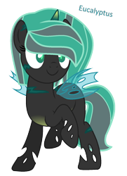 Size: 1024x1416 | Tagged: safe, artist:hate-love12, oc, oc:eucalyptus, changepony, hybrid, female, parent:clypeus, simple background, solo, transparent background