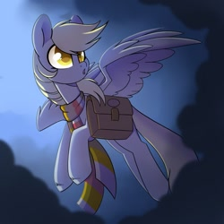 Size: 1280x1280 | Tagged: safe, artist:cloud-fly, derpy hooves, pegasus, pony, bag, clothes, saddle bag, scarf, solo