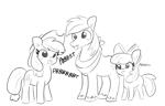 Size: 2241x1440 | Tagged: safe, artist:tjpones, apple bloom, applejack, big macintosh, earth pony, pony, :p, female, male, mare, monochrome, pbbtt, raspberry, silly, silly pony, simple background, stallion, tongue out, trio, white background, who's a silly pony