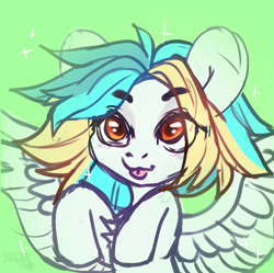 Size: 2436x2430 | Tagged: safe, artist:sugarstar, oc, oc only, pegasus, pony, chest fluff, high res, rcf community, simple background, sketch, solo, tongue out