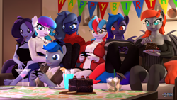 Size: 1920x1080 | Tagged: safe, artist:anthroponiessfm, oc, oc only, oc:audina puzzle, oc:aurora starling, oc:azure thunder, oc:grem, oc:midnight music, oc:raven storm, oc:wavelength, bat pony, unicorn, anthro, 3d, anthro oc, bat pony oc, bat wings, birthday, breasts, cake, clothes, controller, cute, dress, eating, female, food, glasses, happy, heterochromia, male, pants, playing, sfm pony, skirt, socks, source filmmaker, sweater, wings