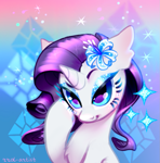 Size: 771x780 | Tagged: safe, artist:rrd-artist, part of a set, rarity, pony, unicorn, bust, chest fluff, colored hooves, cute, female, flower, flower in hair, mare, raribetes, solo