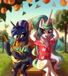 Size: 3600x4000 | Tagged: safe, artist:rrd-artist, princess celestia, princess luna, alicorn, pony, between dark and dawn, banjo, chest fluff, clothes, crossed legs, duo, female, food, hawaiian shirt, hooves behind head, looking at each other, lotta little things, mare, musical instrument, open mouth, peach, royal sisters, scene interpretation, scenery, shirt, sisters, sitting, smiling, tree, wagon