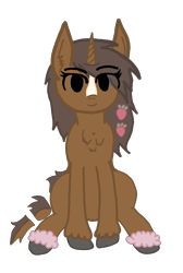 Size: 1958x2918 | Tagged: safe, artist:antique1899, oc, oc only, oc:strawberry cocoa, monster pony, pony, unicorn, 2021 community collab, derpibooru community collaboration, accessories, chest fluff, colored hooves, digital art, ear fluff, female, food, looking at you, mare, segmented tail, sitting, smiling, solo, strawberry, tail, unshorn fetlocks