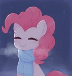 Size: 1941x2048 | Tagged: safe, artist:tstivv, pinkie pie, earth pony, pony, blushing, bust, clothes, cute, diapinkes, eyes closed, female, mare, night, scarf, smiling, solo, stars, visible breath, winter