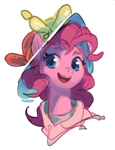 Size: 610x799 | Tagged: safe, artist:luciferamon, pinkie pie, earth pony, pony, balloon, balloon hat, bust, clothes, cute, diapinkes, female, hat, hoodie, mare, open mouth, portrait, simple background, solo, white background