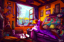 Size: 4481x2920 | Tagged: safe, artist:jowybean, daring do, derpy hooves, spitfire, breezie, butterfly, dragon, pegasus, timber wolf, cactus, couch, female, glass, hat, lamp, lying down, mail, pillow, plant, plushie, ponyville, radio, relaxing, solo, thread, tree, trophy, twilight's castle, window, wonderbolts, yarn, yarn ball