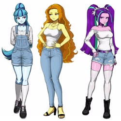 Size: 3264x3264 | Tagged: safe, artist:nairdags, adagio dazzle, aria blaze, sonata dusk, equestria girls, adorasexy, annoyed, arm behind back, bare shoulders, belly button, boots, bracelet, breasts, busty adagio dazzle, busty aria blaze, busty sonata dusk, camisole, choker, cleavage, clothes, collar, combat boots, cute, daisy dukes, denim shorts, disguise, disguised siren, eye lashes, eyeshadow, feet, female, females only, frown, hair, hair tie, hands on hip, heelys, high heels, jeans, jewelry, jorts, kneesocks, legs, long hair, long legs, looking at you, makeup, narrowed eyes, off shoulder, overall shorts, pants, pigtails, ponytail, ring, ripped pants, sandals, sexy, shirt, shoes, shorts, shoulderless, shoulderless shirt, simple background, smiling, sneakers, socks, sonatabetes, stockings, stupid sexy aria blaze, the dazzlings, thigh highs, thighs, toes, torn clothes, trio, trio female, twintails, white background, zettai ryouiki