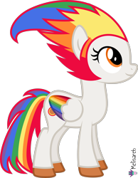 Size: 4000x5142 | Tagged: safe, artist:melisareb, oc, oc only, oc:irene iridium, object pony, original species, pegasus, pony, .svg available, absurd resolution, colored wings, element pony, female, gradient wings, looking up, mare, multicolored hair, multicolored wings, ponified, rainbow hair, rainbow tail, rainbow wings, simple background, solo, transparent background, vector, wings