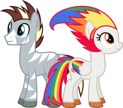 Size: 5710x5000 | Tagged: safe, artist:melisareb, oc, oc only, oc:irene iridium, oc:zee zinc, object pony, original species, pegasus, pony, zebra, 2021 community collab, derpibooru community collaboration, .svg available, absurd resolution, colored wings, duo, element pony, female, gradient wings, looking up, male, mare, multicolored hair, multicolored wings, object zebra, ponified, rainbow hair, rainbow tail, rainbow wings, show accurate, simple background, stallion, transparent background, vector, wings