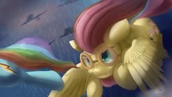 Size: 4038x2271 | Tagged: safe, artist:auroriia, fluttershy, rainbow dash, pegasus, pony, hurricane fluttershy, badass, duo, female, flutterbadass, flying, goggles, mare, scene interpretation, spread wings, windswept mane, wings