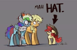 Size: 5862x3807   Tagged: safe, artist:th3ipodm0n, part of a set, apple bloom, applejack, rainbow dash, earth pony, pegasus, pony, absurd resolution, accessory theft, angry, applejack's hat, awkward moment, bandage, black eye, cowboy hat, embarrassed, faic, female, filly, gray background, gritted teeth, hat, mare, misunderstanding, neck brace, part of a series, rainbow dash is best facemaker, shrunken pupils, simple background, smiling, stetson, this ended in pain, this will end in pain, trio, trio female, whoops