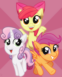 Size: 2048x2548 | Tagged: safe, artist:whitequartztheartist, apple bloom, scootaloo, sweetie belle, earth pony, pegasus, pony, unicorn, cutie mark crusaders, female, filly, trio, trio female