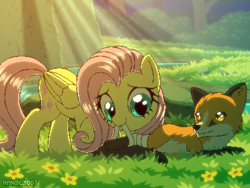 Size: 800x600 | Tagged: safe, artist:rangelost, fluttershy, fox, pegasus, pony, bandage, crepuscular rays, cute, daaaaaaaaaaaw, female, flower, forest, grass, kindness, mare, mouth hold, patreon, patreon reward, pixel art, river, scenery, shyabetes, smiling, stream, sunlight, water