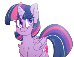 Size: 4300x3350 | Tagged: safe, artist:fluffyxai, twilight sparkle, alicorn, pony, blushing, chest fluff, cute, female, mare, redraw, simple background, smiling, solo, transparent background, twilight sparkle (alicorn)