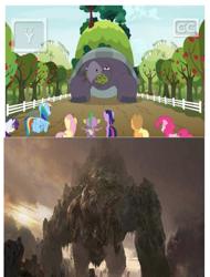 Size: 777x1024 | Tagged: safe, applejack, fluttershy, mr. tortoisnap, pinkie pie, rainbow dash, rarity, spike, twilight sparkle, alicorn, dragon, apple, apple tree, fence, godzilla (series), godzilla: king of the monsters 2019, methuselah, monsterverse, tree, twilight sparkle (alicorn), winged spike